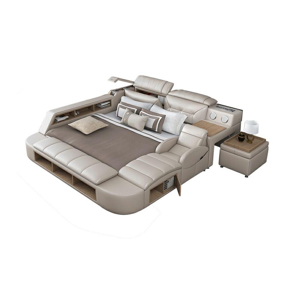 Smart bett rahmen camas schlafzimmer set möbel кровать двуспальная lit betten massage echtem leder lautsprecher Bluetooth kreative bett