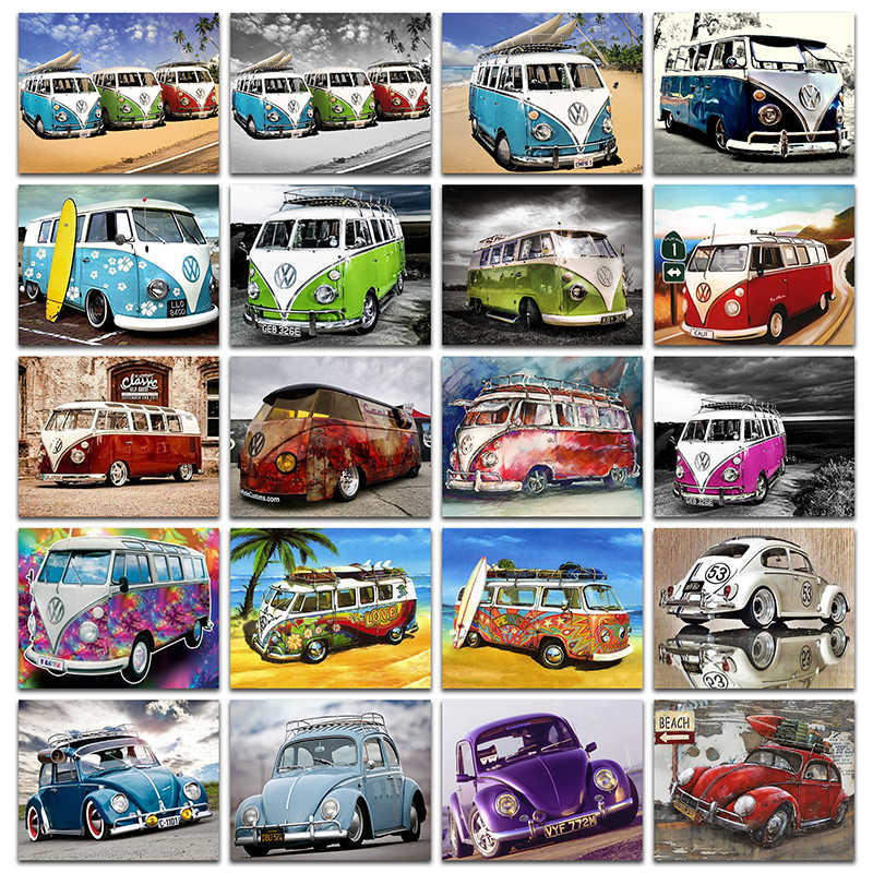 5D DIY Diamant malerei Kreuz stich VW auto up Volle Quadratmeter Diamant stickerei bus set Volle Runde Diamant mosaik bunte autos