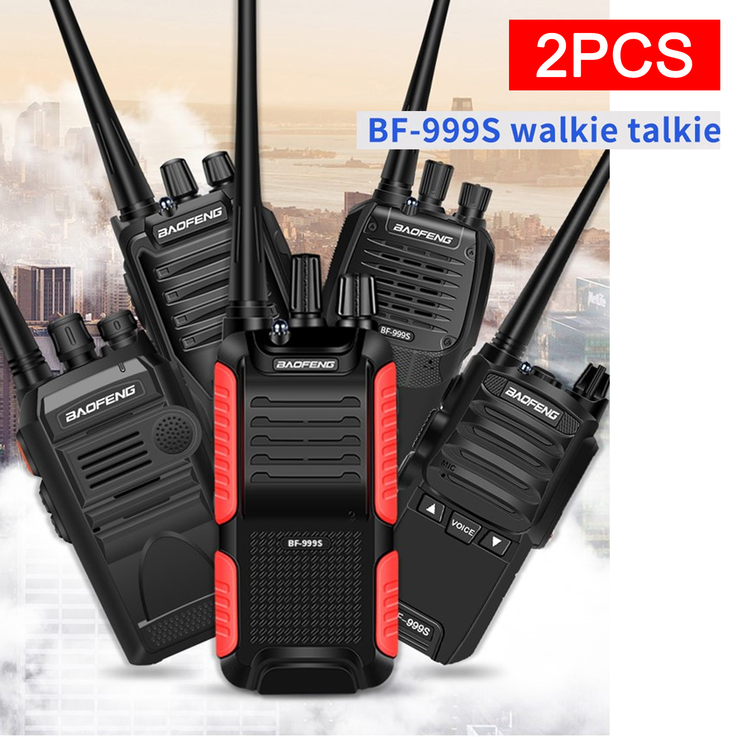 2pcs/lot BF-999S Walkie Talkie Baofeng 8W /5W 4200mAh Transceiver Portable Two Way Radio Upgrade BF-888s