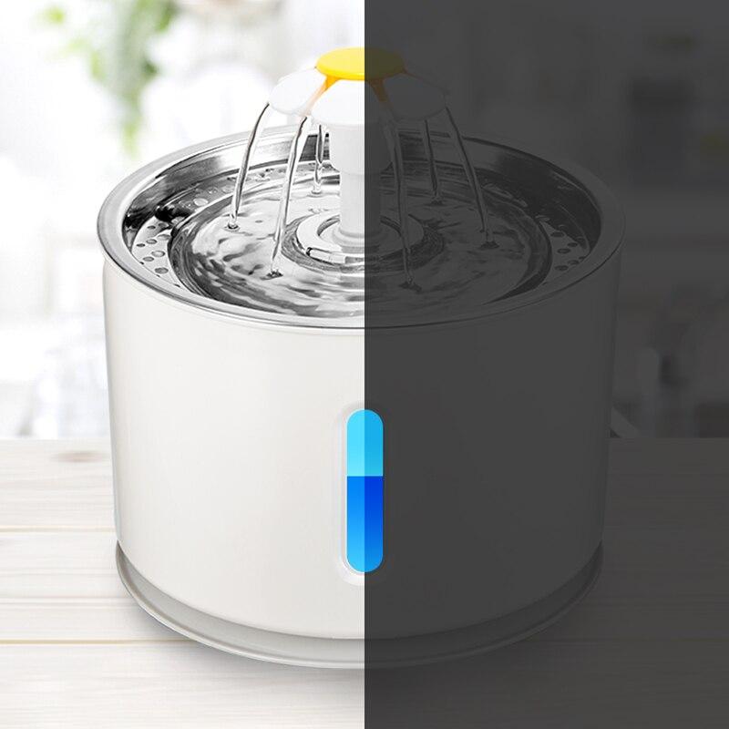 Автоматический фонтанчик с водой для кошек, электрический поильник объемом 2,4 л со светодиодом и USB для кошек и собак, беззвучная поилка для ...