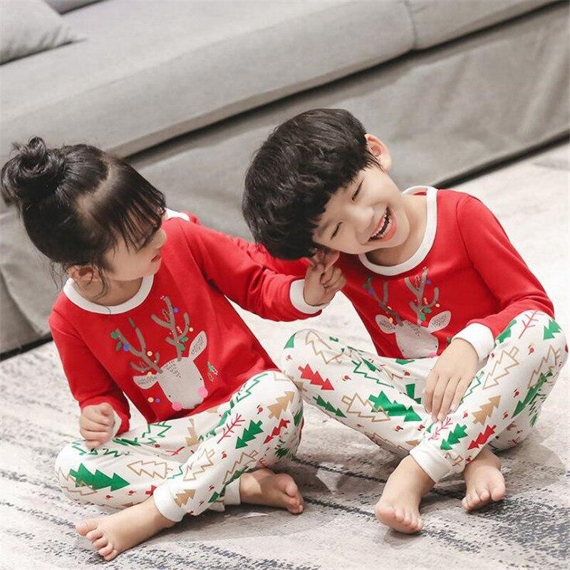 Cotton Boys Girls   Pajama     Set   Autumn Winter Family Christmas   Pajamas   For Children Cartoon Kids Sleepwear Clothing Toddler Baby PJ