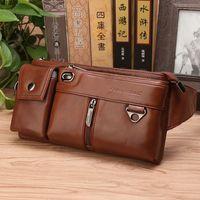 Male Genuine Leather Hip Bum Fanny Pack Cigarette Cell Phone Case Pocket Purse Vintage Chest Bags Nature Skin Men Waist Belt Bag