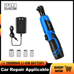 Kit de llave eléctrica de 12V PROSTORMER 3/8 Llave de trinquete sin cable, andamio recargable, trinquete de par de 40 nm con herramientas de enchufes