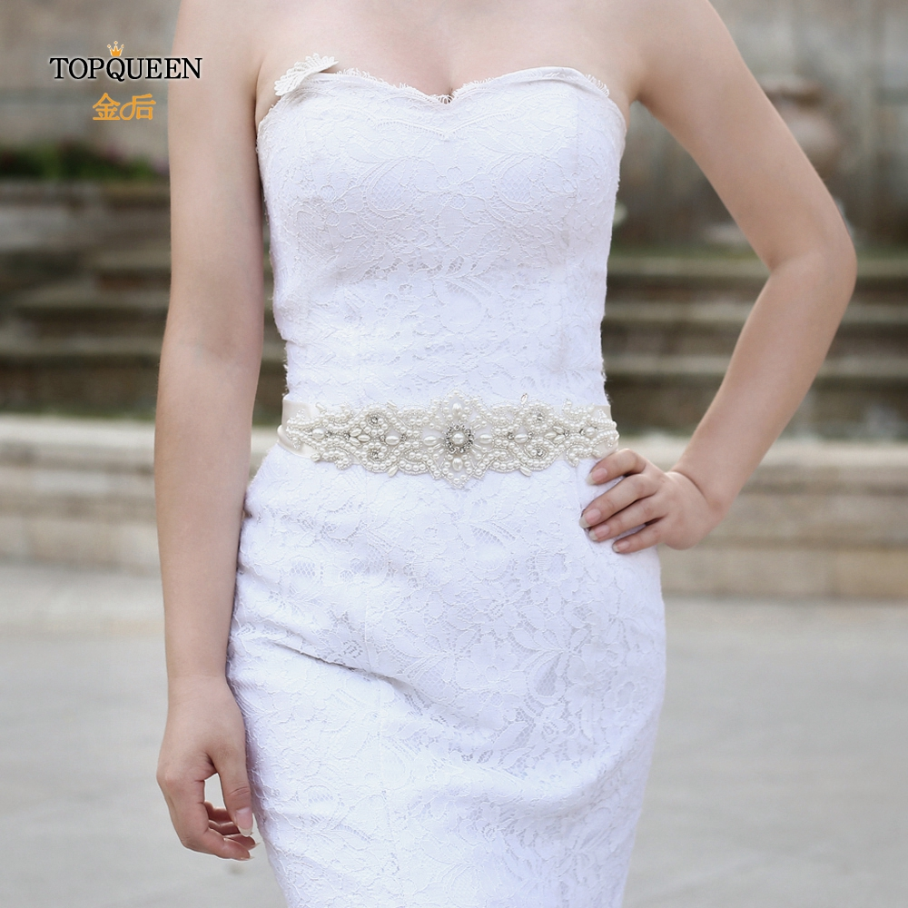 TOPQUEEN S26A Wedding Belts For Bride With Pearls Formal Sash Belt Women Dress Sashes For Women Beaded Wedding Dress Belt