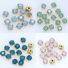 100pc 5mm costurar em opala cristal strass flatback diamante diy decorativo copo de ouro garra 4 furos contas de costura artesanato roupas