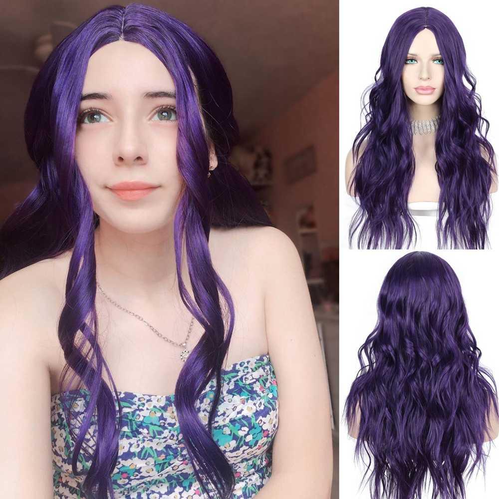 Peluca Lvcheryl hecha a máquina de cuero cabelludo simulado, peluca de pelo de color púrpura oscuro ondulado sintético, Cosplay de alta temperatura para fiesta diaria Drag Queen