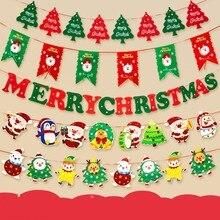 Год Рождественские украшения для дома DIY флаг Нетканая ткань бумажная карта баннер с блестками новогодний декор navidad Висячие флаги