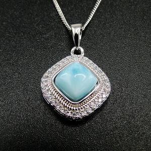 Image 4 - الأكثر مبيعاً قلادة جميلة من الفضة الإسترليني عيار 925 مجوهرات نسائية من دومينيكا لاريمار الطبيعية قلادة للهدايا
