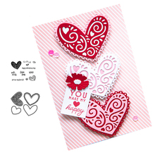 Love Heart Metal Cutting Dies and Clear Stamps for DIY Scrapbooking Crafts Dies Stencils Card Make Album Sheet Decor New Stamps love cat heart sticker painting stencils for diy scrapbooking stamps home decor paper card template decoration album crafts art