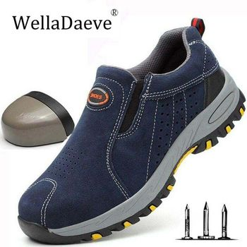 2019 Indestructible Men's Steel Toe Safety Boots Breathable Anti-smashing Puncture-Proof Work Shoes Welder Safety Boot Sneakers sitaile breathable mesh steel toe safety shoes men s outdoor anti smashing men light puncture proof comfortable work shoes boot