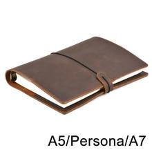 Винтажный кожаный дневник ручной работы, блокнот формата А5, персональная папка на кольцах А7, скетчбук для дорожного журнала, бизнеса, школьных принадлежностей