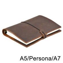 בעבודת יד בציר עור יומן מחברת A5 אישי A7 טבעת קלסר בלוק ציור נסיעות כתב עת, עסקים, ציוד לבית ספר