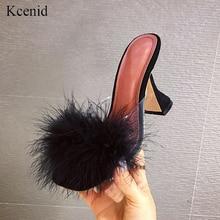 Kcenid 2020 mode plume pantoufles femmes chaussures nouveautés à talons hauts dames en plein air diapositives sans lacet chaussons pour femmes mule