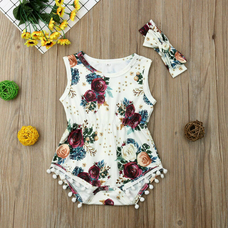 Newborn Baby Kid Girl Romper Jumpsuit Clothes Headband Outfit Sets 2pcs