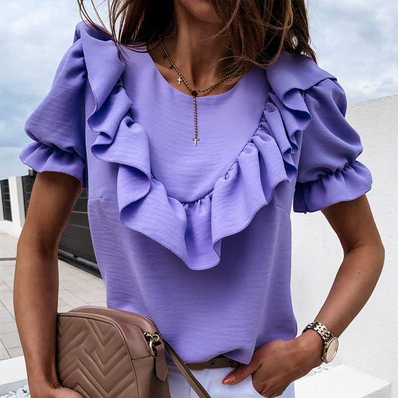 Ruffled Puff Short Sleeve Women's Chiffon Blouse Summer Purple O-Neck Blouses Female 2020 New Fashion Loose Elegant Ladies Tops