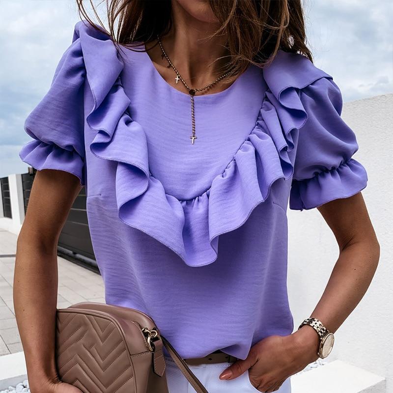 Ruffled Puff Short Sleeve Women's Chiffon Blouse Summer Purple O-Neck Blouses Female 2020 New Fashion Loose Elegant Ladies Tops