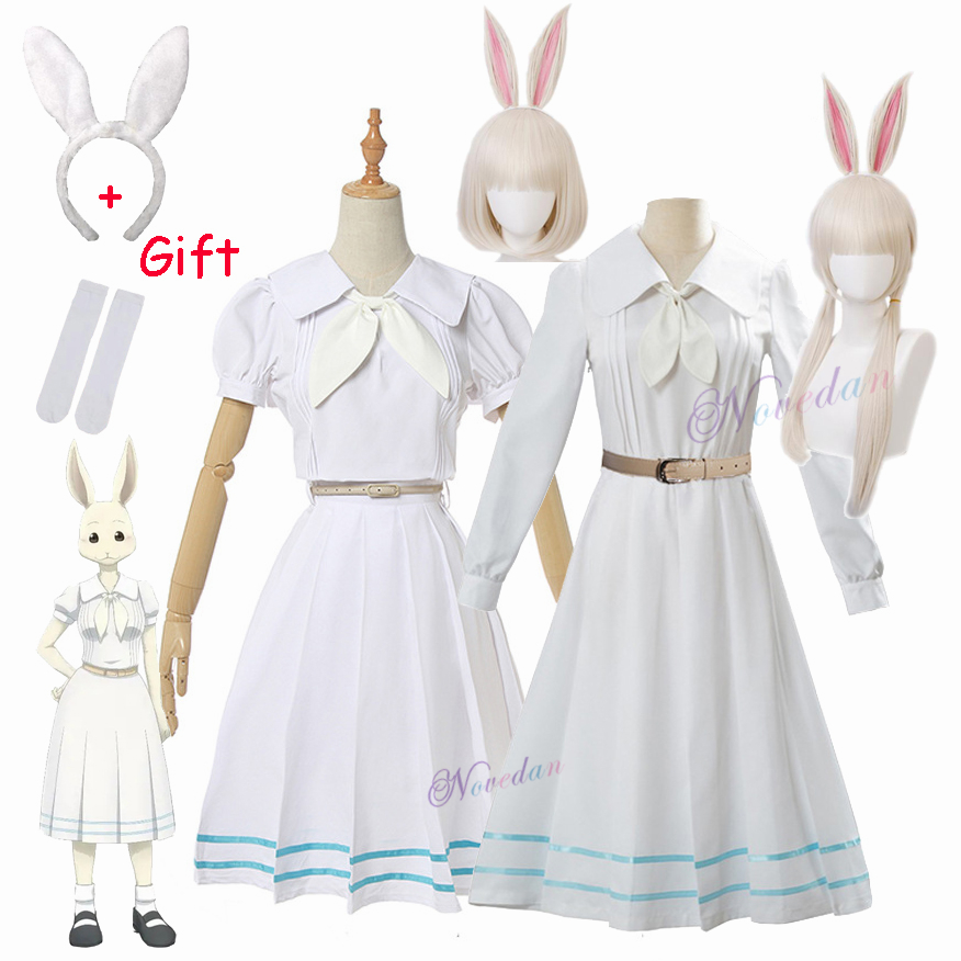 Anime Beastars Haru Cosplay Costume Uniform White Rabbit Animal Cute Kawaii Dress And Wig For Women Girls