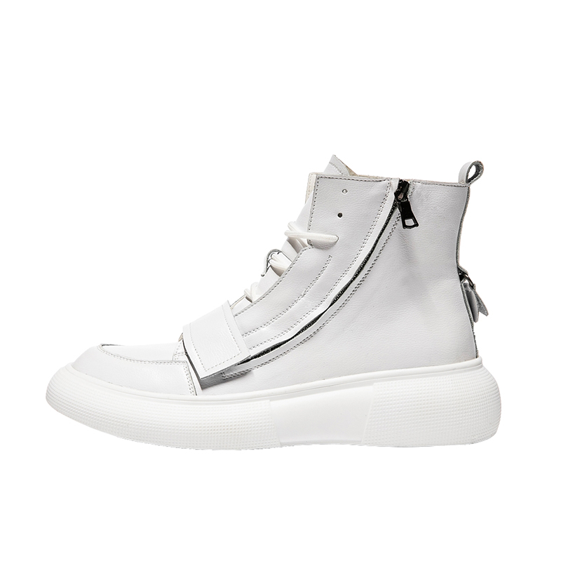 IGxx High Top  Shoes Zip Lace-up Leather Men's Sneakers Punk Ankle Boots For Men Basketball Hook&Loop Shoes White