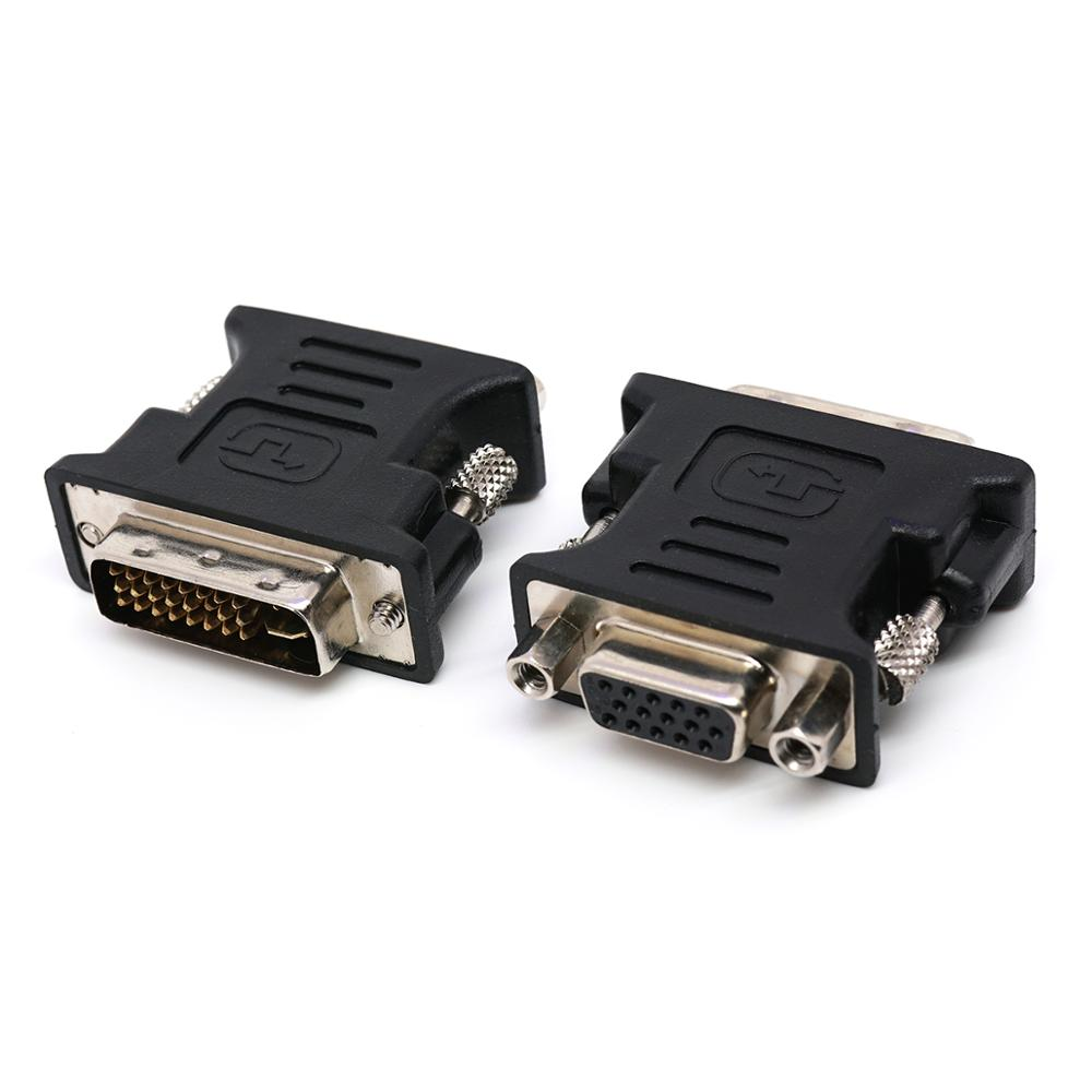 DVI to VGA adapter 1080P DVI 24+5 DVI-I Male to VGA Female Converter for Computer Laptop Graphics Cards Projector and Monitor image