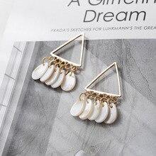 Fashion Female Water Drop Shape White Shell Piece Dangle Earrings For Women 2019 Trendy Triangle Gold Metal Drop Earring Gifts цена 2017