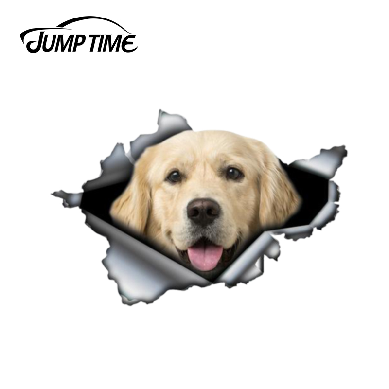Jump Time 13cm X 8.8cm Golden Retriever Sticker Torn Metal Bumper Decal Funny Car Stickers Window Trunk Animal 3D Car Styling
