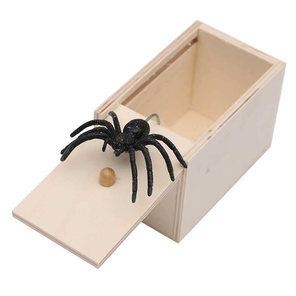 Small Gag Funny Pull Toy Scare Box Party Office Fake Spider Case Trick Wood Kids Prank Gift Horrible