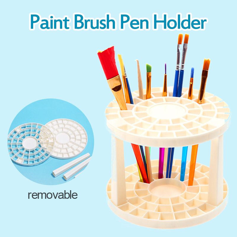 Watercolor Painting Brush Pen Holder Art Supplies Paint Brushes Pen Holder 49 Holes Pen Rack Display Stand Support Holder