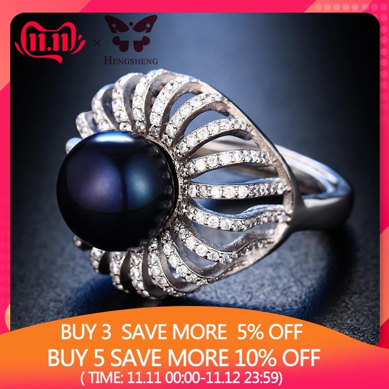100% справжнє натуральне перлове елегантне жіноче кільце HENGSHENG, набір з перлами 11-11,5 мм та 200 цирконів, форма корони для вечірки / весілля