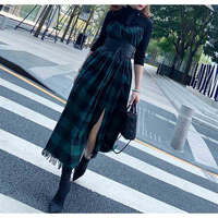 Cosmicchic Autumn Winter 2019 Fake Two Pieces Gothic Long Dress Bow Scarf Collar Green Black Plaid Vintage Maxi Party Dresses