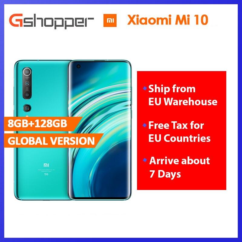 Xiaomi Mi 10 смартфон с восьмиядерным процессором Snapdragon 865, восьмиядерным процессором Snapdragon 6,67, ОЗУ 8 ГБ, ПЗУ 128 ГБ, 5 Гб