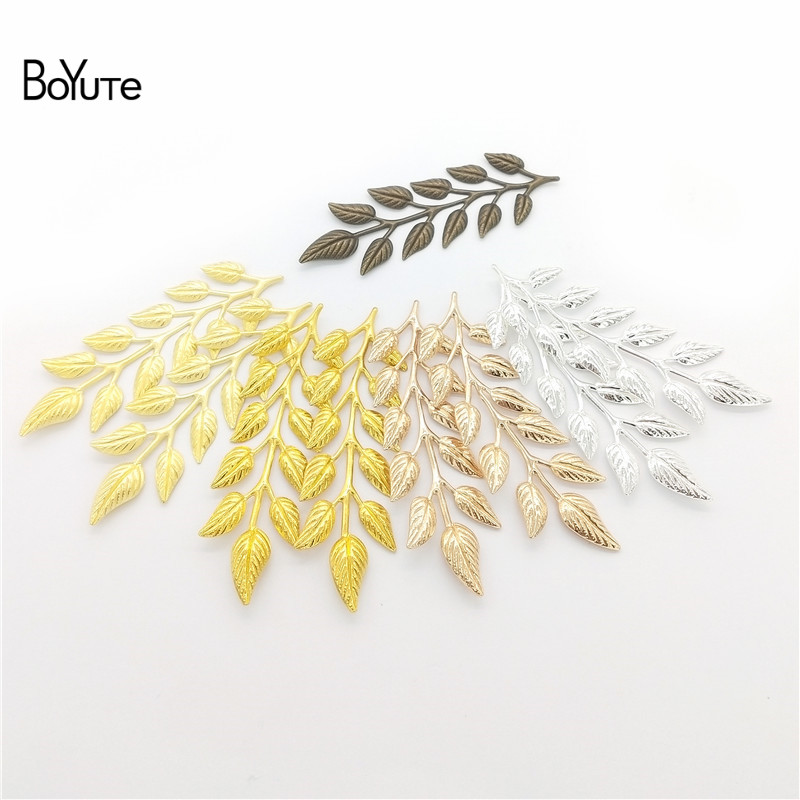 BoYuTe (10 Pieces/Lot) Metal Brass Stamping 19*64MM Olive Branch Leaf Diy Hand Made Materials Wholesale Jewelry Accessories(China)