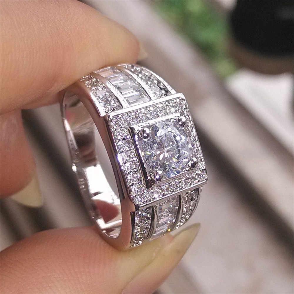 Bling cubique Zircon anneaux Micro pavé bague de fiançailles pour hommes homme bague de mariage couleur argent clair pierre classique DDR086