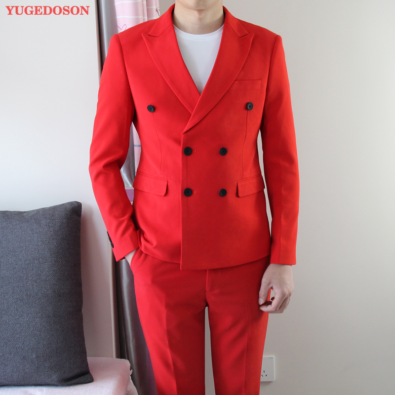 New Men's Fashionsuit Suit Youth Slim Trend Korean Handsome British Style Double-breasted Suit Sets Men Clothing