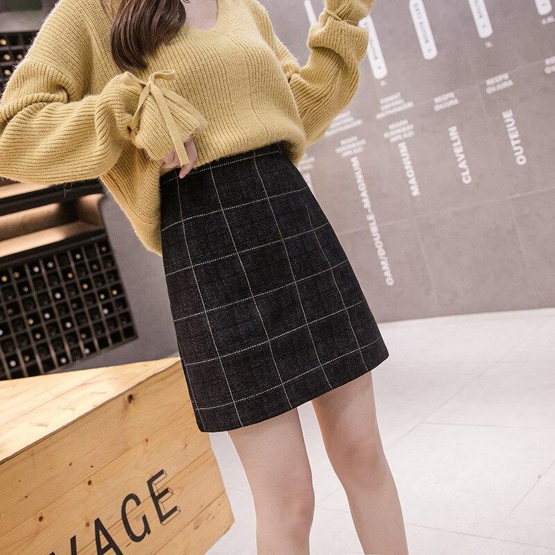Photo Shoot 3271 # New Style High-waisted Sheath One-step Skirt Anti-Exposure Plaid Woolen Culottes A- Line Half-length Short Sk