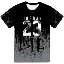 Verão 2021 3dt camisas masculinas de manga curta de várias cores adultos para crianças jordan 23 respirável grande 100-xxs-6xl