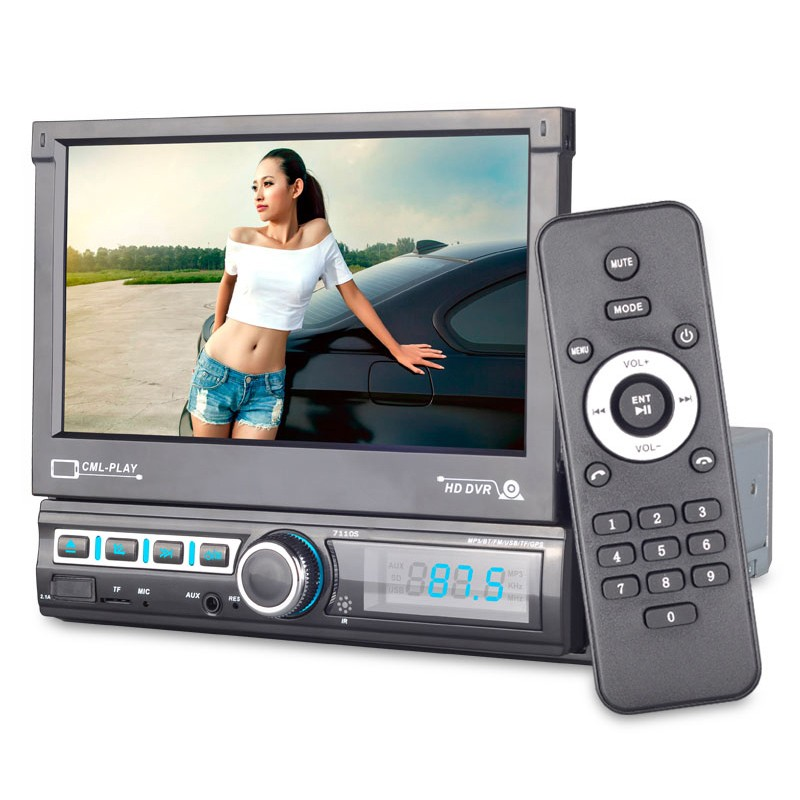 7 Inch Car Multimedia Player Touch Screen Car MP5 Player Retractable Car MP5 Player Support Multi-Languages & Camera image