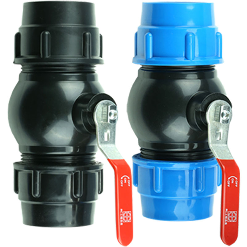 32mm Metal Core PP Ball Valve Straight Blue Black Caps Adapter PE Pipe Fittings Quick Connector For Irrigation