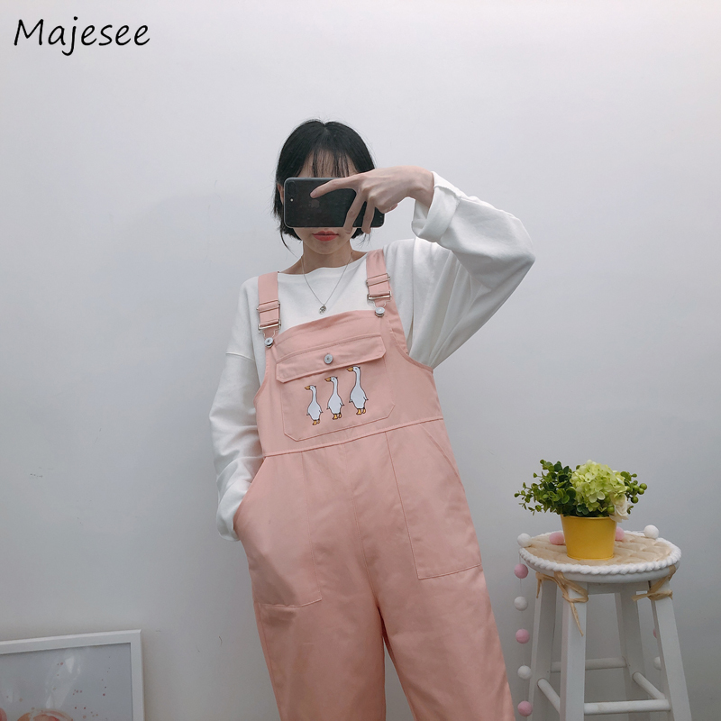 Jumpsuits Women Kawaii Cartoon Printed Pink Sweet Loose Ankle-length Simple Student  Pockets Casual Womens Overalls Chic