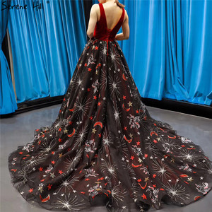 Image 2 - Red Black Embroidery Sepuins Sexy Evening Dresses 2020 A Line Neck Sparkle Formal Dress Serene Hill HM66808