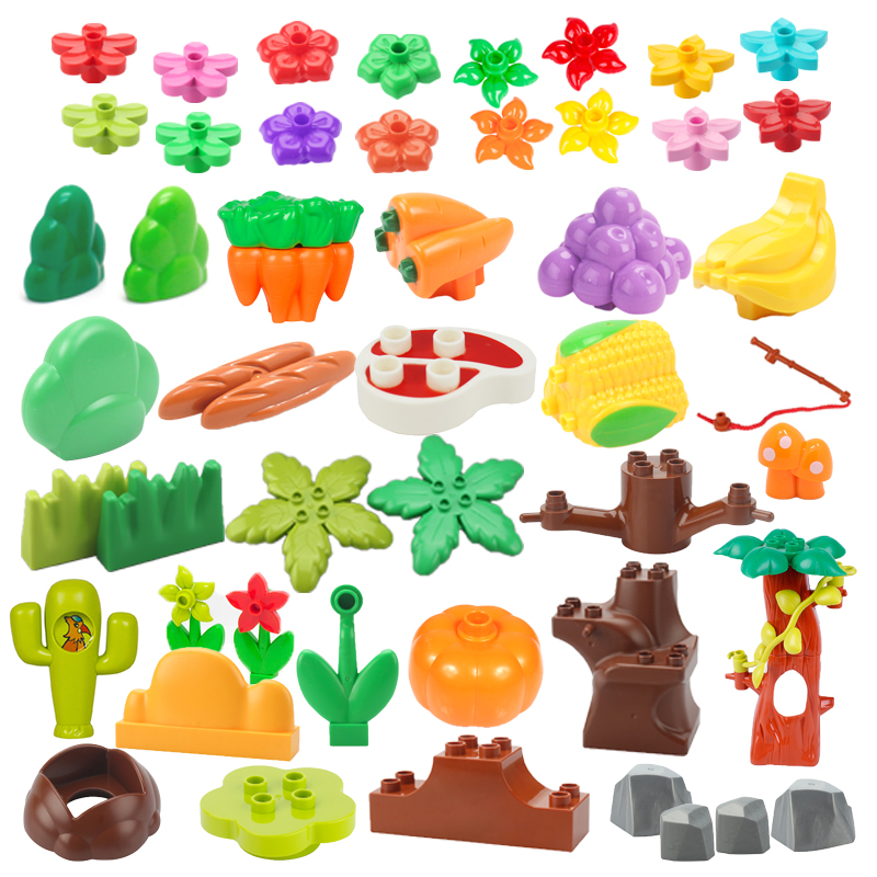 Plant Series Big Building Blocks Flower Grass Tree Fruit Adornment Accessories Compatible Scenes Assemble Toys For Kids Bricks