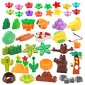 Большая серия растений, строительные блоки, цветок, трава, дерево, фрукты, украшение, аксессуары, совместимые сцены, сборные игрушки для дете...