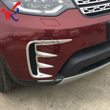 цена на WK Brand 2pcs ABS Chrome Front Fog Light Lamp Trim Decoration for Land Rover Discovery 5 2017 Car Accessories Styling