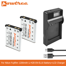 POWTREE 1.2Ah Li-40B Li40B Li-42B EN-EL10 EN EL10 ENEL10 Digital Camera Battery+LCD Charger For Olympus Nikon Fujifilm KodaK L50 dste replacement 3 7v 1400mah battery charging dock set for en el10 fuji np 45 klic 7006