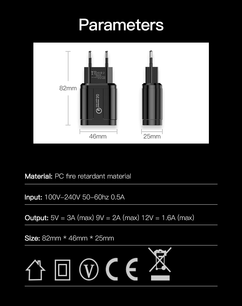 !ACCEZZ QC3.0 USB Charger Quick Charge For iphone XS X Fast Charging For Samsung Huawei Xiaomi EU Plug Travel Wall Power Adapter (8)