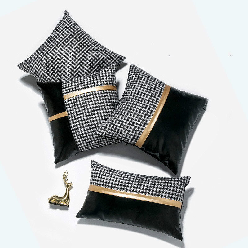 luxury grey gold silver cushion covers decorative pillow cases applique throw pillowcases houndstooth pattern pu cushion