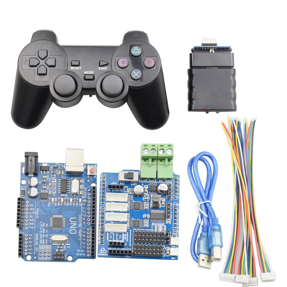 PS2 Handle Wireless Controller For Smart Mecanum Wheel Robot Car Robotic Arm With UNO R3 For Arduino0 Motor Driver Board