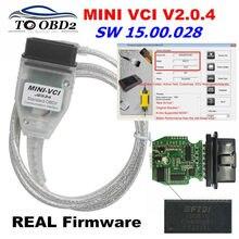 Mini vci nova versão real v2.0.4 mais recente v15.00.028 do firmware para toyota j2534 k + dcan suporta k-linha MINI-VCI hw2.0.4 ft232rl