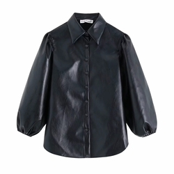New design za PU faux leather Womens Blouses Shirts puff sleeve autumn Womens tops and blouses streetwear korean Camisa Blusas 2