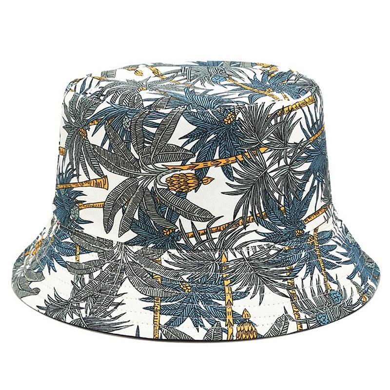 Two Side Reversible Coconut Tree Bucket Hat Unisex Printing Hip Hop Hat For Women Men Panama Cap Summer Fisherman Hat