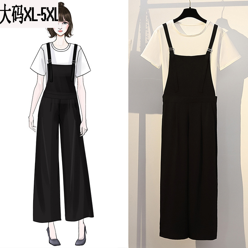 Large Size Dress 2019 Summer New Style Simple By Age Wide-Leg Suspender Pants Versatile Short Sleeve T-shirt Two-Piece Set WOMEN